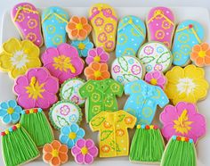 Hawaiian Decorated Cookies.... @geraldgentilepara que decoren galletas... llevas las galletas listas con formas y ellos las decoran a su ANTOJO