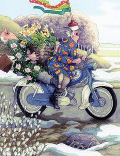 In a small village in Finland lives the world-famous artist-illustrator Inge Löök. Inge Look - pseudonym of the artist, real name Ingeborg Lievonen. Old Lady Humor, Fantasy Magic, Old Folks, Arte Popular, Whimsical Art, Old Women, Illustrators, Folk Art, Illustration Art