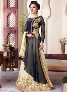 Navy Blue And Cream Embroidery Sequins Work Gergettte Anarakli Lehenga Suit http://www.angelnx.com/Salwar-Kameez/Anarkali-Suits#/