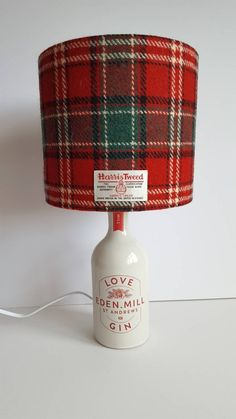"""Gin Bottle Lamp, St Andrews """"Love"""" Gin Bottle, Harris Tweed lampshade and push in bottle adaptor, Scottish Gift by LucyWagtail on Etsy"""