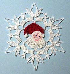 Thread Crochet Santa Snowflake by PetalsnMore on Etsy