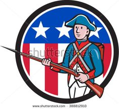 Illustration of an American revolutionary soldier minuteman serviceman military with rifle marching set inside circle with usa flag stars and stripes in the background done in cartoon style.  - stock vector #patriot #cartoon #illlustration