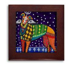 Greyhound Angel Memorial Gift dog Mexican Folk Art Ceramic Framed Tile by Heather Galler - Ready To Hang Tile Frame Gift