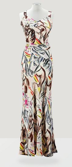 Elsa Schiaparelli Couture F/W 1938-1939 with designs after Marcel Vertes vintage fashion style novelty print late 30s early 40s evening gown bias cut column white brown grey horses painting illustration graphic designer couture vintage fashion