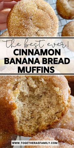 Banana Muffins taste like banana bread in muffin form with a sweet cinnamon & butter topping. All you need is one bowl. No mixer needed! These banana bread muffins are made weekly at my house. We LOVE them!