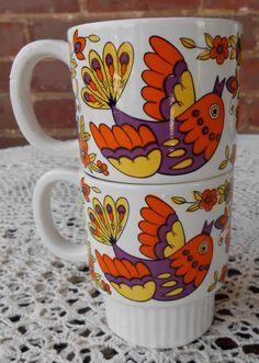 Bird Mugs / Put a Bird on It Vintage Bird Mugs / by LindsaysList, $19.00