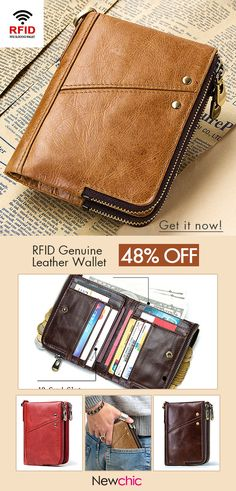 ba97dc83e2 GZCZ RFID Genuine Leather 12 Card Slot Casual Multifunction Wallet Double  Zip Retro Purse For Men Women sales at a wholesale price. Come to Newchic  to buy a ...