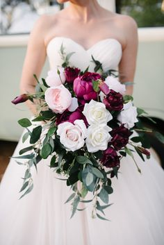 Perfect open roses, lush burgundy peonies and deep deep maroon lisianthus. - - Perfect open roses, lush burgundy peonies and deep deep maroon lisianthus. Lovel… Perfect open roses, lush burgundy peonies and deep deep maroon lisianthus. Burgundy Wedding Flowers, Maroon Wedding, Bridal Flowers, Flower Bouquet Wedding, Purple Wedding, Wedding Bells, Floral Wedding, Summer Wedding, Wedding Colors