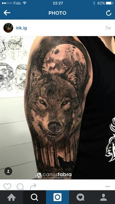 Wolf tattoo courtesy Instagram