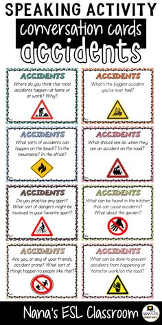Ignite conversation in your classroom with these engaging conversation starter cards about accidents. A total of 40 cards with one or more questions per card. English Grammar For Kids, Teaching English Grammar, English Fun, French Language Learning, Learn English Words, English Lessons, French Lessons, German Language, Spanish Lessons