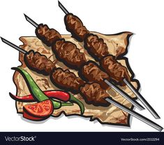 Cherry Drink, Turkish Pizza, Kebab Skewers, Salmon Sandwich, Kebabs On The Grill, Donut Vector, Eid Crafts, Peach Juice, Coffee And Donuts