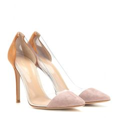Gianvito Rossi - Suede and transparent pumps - Opt for these Gianvito Rossi pumps as a contemporary final note to sleek ensembles. We love the contrast of the taupe and tan suede against the transparent insert - cool yet sophisticated. seen @ www.mytheresa.com