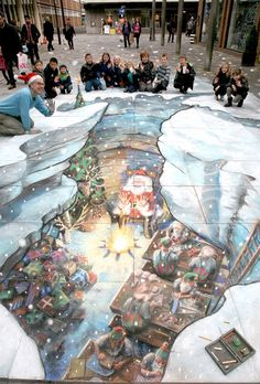 "Veteran 3D street painter, Julian Beever made a surprise late appearance in December 2011 with his ""Santas Grotto"" picture in Camberley, UK. Beever is one of the most famous and well known 3D street art painters and he took 4 days to create this piece in chalk."