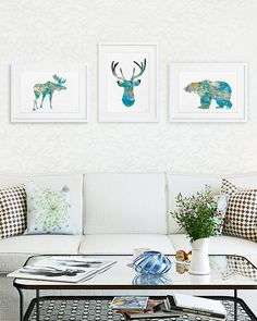 Moose, Deer, Bear - 11x14 Print Set of 3 - Watercolor Art - Animal Painting Silhouette Art - Teal, Blue, Yellow, Grey Wall Decor, Home Decor...