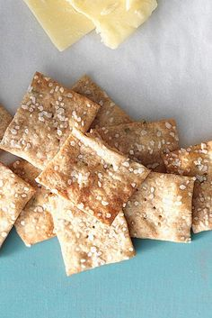 """Sourdough Crackers Recipe from KAF. Uses """"unfed"""" starter. Good recipe for the """"discarded"""" portion of your starter. Another plus: can use WW flour. Sourdough Recipes, Sourdough Bread, Bread Recipes, Cookie Recipes, Starter Recipes, Easy Recipes, Healthy Recipes, Scones, Biscuit Sans Gluten"""
