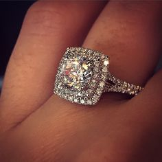 Double halo engagement ring by Verragio - perfection