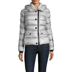 Moncler Women's Hooded Puffer Jacket - Cream/Tan, Size 1 ($1,100) ❤ liked on Polyvore featuring outerwear, jackets, hooded jacket, moncler jacket, tan jacket, zip jacket and woven jacket