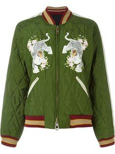Chloé leopard embroidered bomber jacket