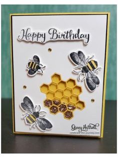 Simple Birthday Cards, Kids Birthday Cards, Set Honey, Heartfelt Creations Cards, Honey Bee Stamps, Bee Cards, Stamping Up Cards, Shaker Cards, Butterfly Cards