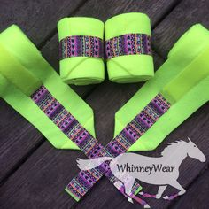 Neon yellow polo wraps with Aztec trim by WhinneyWear Email whinneywear@yahoo.com to order