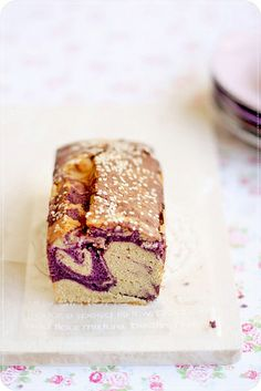 Purple Sweet Potato & Sesame Marble Cake by bossacafez.