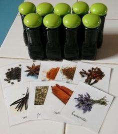 Boites des senteurs : poivre, curry, clou de girofle, anis étoilé, cannelle, lavande, basilic, vanille, thym, laurier...