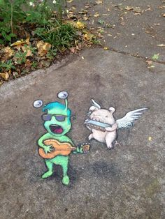 David Zinn.  Street art