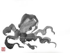Octopus Tako - sumi-e by SayuriMVRomei on DeviantArt
