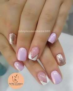 Beautiful nails with semi-permanent enamelling . French Acrylic Nails, French Manicure Nails, Cute Acrylic Nails, French Nails, Diy Nails, Glitter Nails, Love Nails, Pretty Nails, Semi Permanente