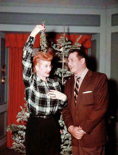 Lucille Ball & Desi Arnaz ...under the mistletoe <3 #christmas