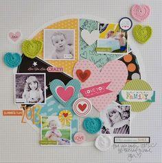 Bella Blvd. Snapshots. Crochet Hearts. Layout by DT Member Jen Chapin.