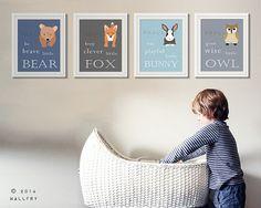 Woodland Nursery decor. Be Brave little bear, grow wise little owl, baby nursery art.SET OF ANY 4 woodland prints by WallFry