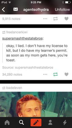 I've got my learners permit to kill. Beware. #Tumblr