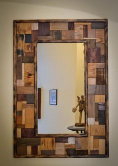 Stunning Mirror Frame Design Ideas From Wood - Diy Pallet Mirror, Reclaimed Wood Mirror, Wood Framed Mirror, Diy Mirror, Wood Picture Frames, Picture On Wood, Wood Projects, Woodworking Projects, Woodworking Plans