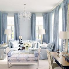 I have a thing for blue living rooms