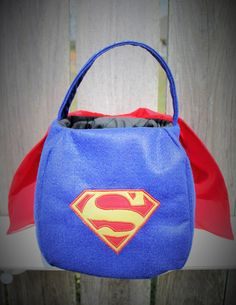 Superman Trick-or-Treat Basket, Halloween Tote, Toy bag by PunkinPatchBags on Etsy