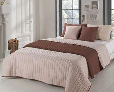 Dvojfarebné prehozy na posteľ béžovej farby
