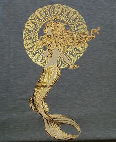 Gold. I know this is a t shirt, but.. I really would like to learn how to use gold foil in art