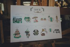 Illustrated Order Of The Day Wedding Sign - Nancarrow Farm Cornwall Wedding With Bridesmaids In ASOS And Images by Ross Talling