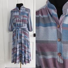 #Vintage #70s Size Large L Striped #Dress by AmbassadorGrooviness