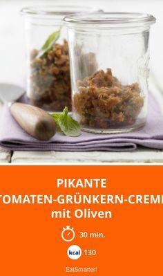 Pikante Tomaten-Grünkern-Creme - mit Oliven - smarter - Kalorien: 130 Kcal - Zeit: 30 Min. | eatsmarter.de
