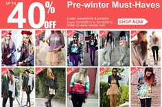 *SALE ALERT*  Romwe Pre-winter Must-Haves Up to 40%off Date: 10/15/2013--10/18/2013 Go: http://www.romwe.com/Pre-winter-Must-Haves-c-325.html?HOTFUNSTUFFS  And another FLASH SALE: http://www.romwe.com/manage_activity/Best-Sellers-Flash-Sale/?HOTFUNSTUFFS