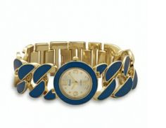 Woman's gold tone with blue epoxy accent fashion watch 45.00 USD