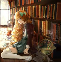 Anime girl in library