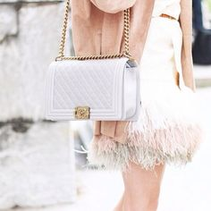 feathered skirt + quilted bag