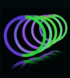 8 Inch Glowstick Bracelets - Bi-Color - Green/Purple - Save 10% off sitewide at GlowUniverse.com with code PIN10