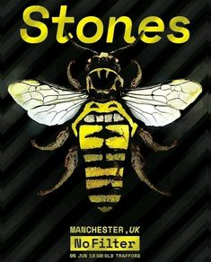 The Rolling Stones - No Filter Tour - Manchester - UK Pop Posters, Band Posters, Music Posters, Event Posters, Rolling Stones Concert, Rolling Stones Tour, Rollin Stones, Vintage Concert Posters, Manchester Uk