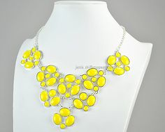 Yellow Silver Tone Bubble Necklace Yellow Bubble by GemPearls, $10.00