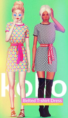 Sims and Cinnamon — Koko Belted T-Shirt Dress 🌇🌆🌃🌌🌉🌄🎑 (special thanks. Sims 4 Cas, Sims 1, Vêtement Harris Tweed, Play Sims 4, Pelo Sims, Sims 4 Teen, Sims 4 Cc Makeup, Sims 4 Cc Finds, Sims Mods