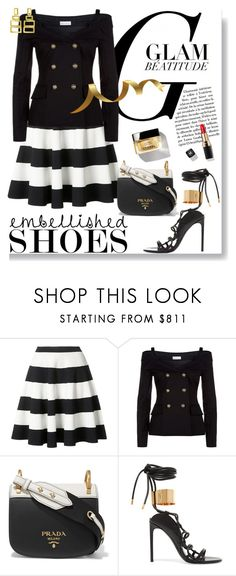 """Magic Slippers: Embellished Shoes"" by lacas ❤ liked on Polyvore featuring Akris Punto, Faith Connexion, Prada, Tom Ford, Chanel, Nuevo, Sailor, happybirthday and embellishedshoes"